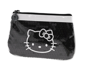 Estuche portatodo de vinilo de color negro y blanco Hello Kitty