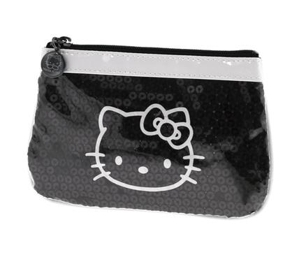 Estuche portatodo de vinilo de color negro y blanco Hello Kitty