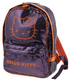 Mochila Hello Kitty lila y naranja