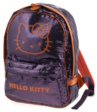 Mochila Hello Kitty lila y naranja