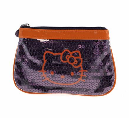 Estuche portatodo de vinilo de color lila y naranja Hello Kitty