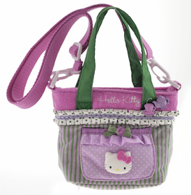 Bolso Sportina de la Hello Kitty de color verde y lila