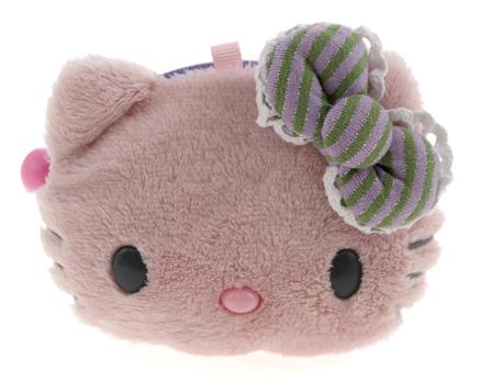 Bolsa de felpa de la Hello Kitty verde y lila