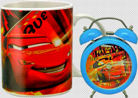 Set de taza y despertador Cars