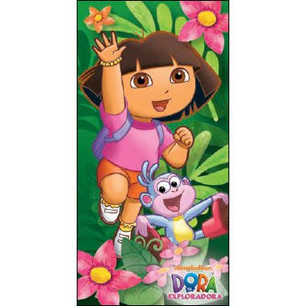 Toalla Botas y Dora Exploradora de color verde 70x140cm