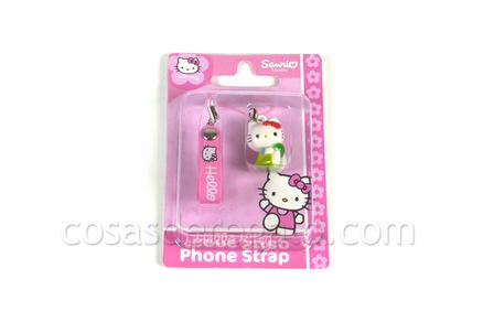 Colgante para el móvil Hello Kitty verde sentada