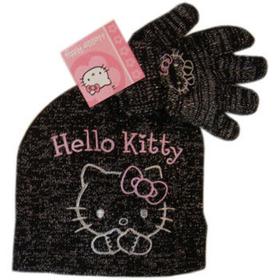 Conjunto negro de gorro y guantes Hello Kitty