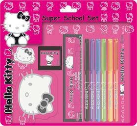 Set Escolar caritas Hello Kitty de color negro