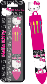 Bolígrafo de 10 colores caritas Hello Kitty de color negro