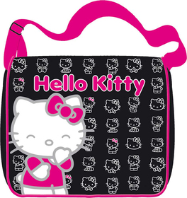 Bandolera messenger caritas Hello Kitty de color negro