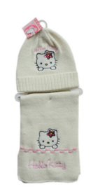 Gorro y bufanda Hello Kitty de color blanco