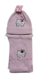 Gorro y bufanda Hello Kitty de color rosa