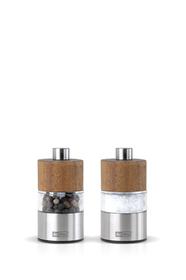 Set de dos molinillos de acero y acacia de 6 cm