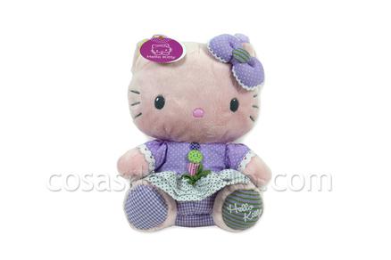 Bolsa de peluche de la Hello Kitty, verde y lila