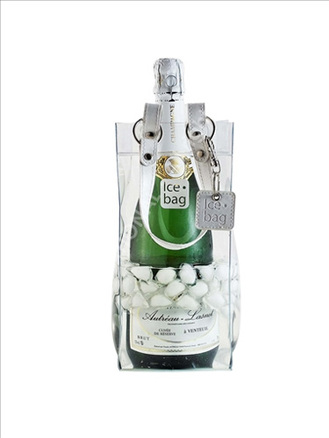 Bolsa enfriadora de botellas Ice.bag® VIP como piel de color blanco
