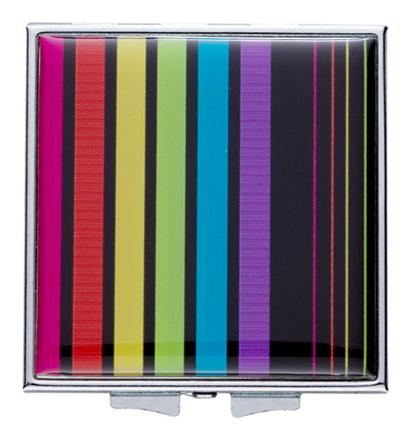 Espejo doble con rayas de colores