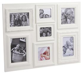 Marco de fotos Baroque múltiple para 7 fotos de color blanco