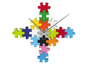 Reloj de pared adhesivo DIY en forma de puzzle
