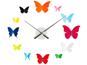 Reloj de pared adhesivo DIY con mariposas de colores