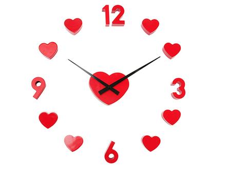 Reloj De Pared Adhesivo Con Corazones De Color Rojo