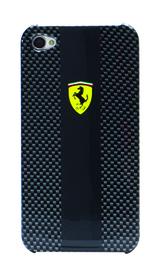 Carcasa de fibra de carbono Ferrari de color negro para iPhone 4 y 4S