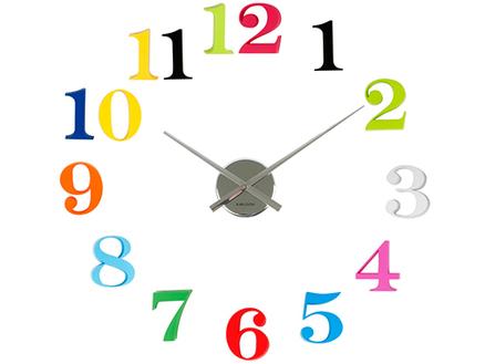 Reloj de pared adhesivo diy con n meros grandes de colores - Relojes grandes de pared ...