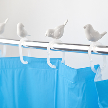 Ganchos cortina ducha peeking birds for Ganchos para cortina bano