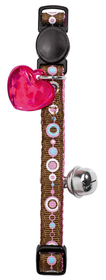 Collar de gato de nylon de color marrón y rosa señales con detalle corazón y cascabel