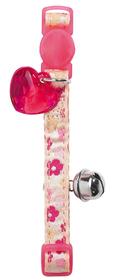 Collar de gato de nylon de flores retro rosa con detalle corazón y cascabel