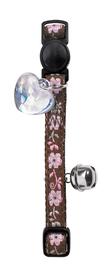 Collar de gato de nylon marrón con flores incluye detalle corazón y cascabel