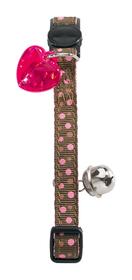 Collar de gato de nylon marrón con topos rosas incluye detalle corazón y cascabel