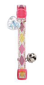 Collar de gato de nylon rosa con rombos incluye detalle corazón y cascabel