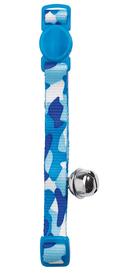 Collar de gato de nylon Camuflaje en colores azules y cascabel