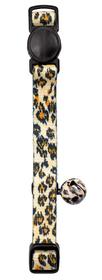 Collar de gato de nylon negro safari con cascabel