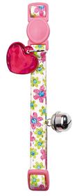 Collar de gato de polipiel rosa primaveral con detalle corazón y cascabel