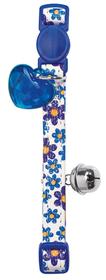 Collar de gato de polipiel azul primaveral con detalle corazón y cascabel