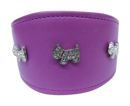 Collar para Galgo de color lila mate con perritos