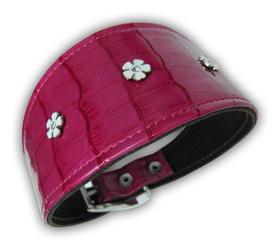 Collar para Galgo x-coco rosa con flores