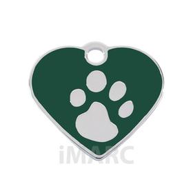 Placa grabada con forma de corazón pequeño latón verde y huella baño en plata