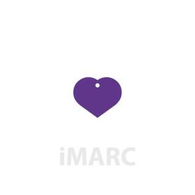 Placa grabada con forma de corazón de color lila