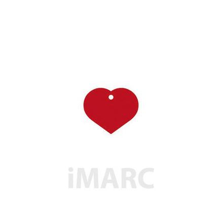 Placa grabada con forma de corazón de color rojo