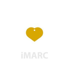 Placa grabada con forma de corazón dorado