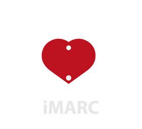 Placa grabada con forma de corazón pequeño con 1 piedra aluminio de color rojo