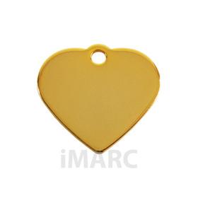 Placa grabada con forma de corazón baño en oro de 24 Quilates