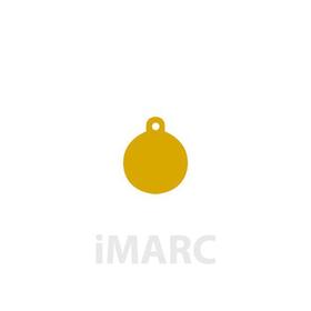 Placa grabada con forma de círculo dorado