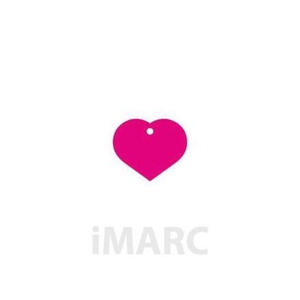 Placa grabada con forma de corazón de color rosa