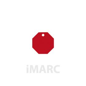 Placa grabada con forma de señal stop de color rojo