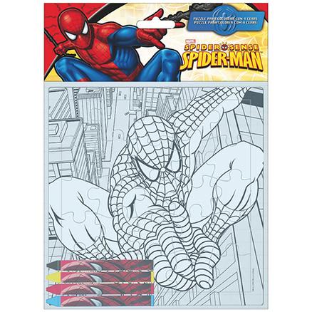 Puzzle Coloreable más ceras Spiderman Marvel