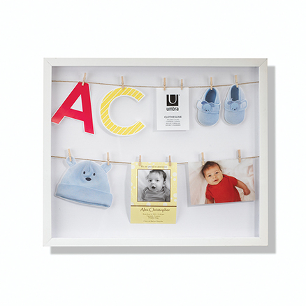 Marco de fotos Clothesline shadowbox de color blanco