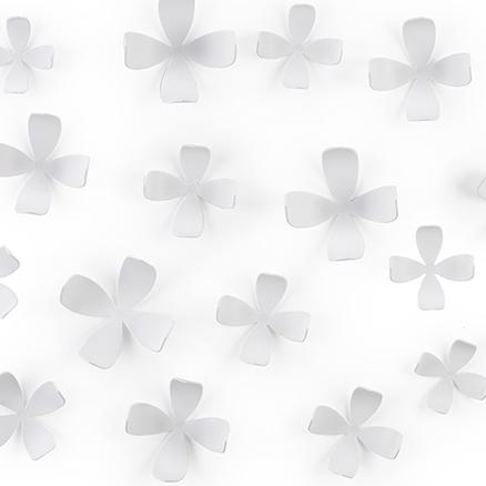 Flores adhesivas para la pared de color blanco (25 unidades)